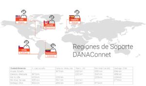 Regiones de cobertura de soporte DANAConnect